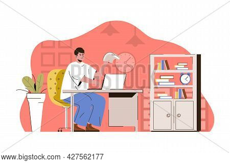 Exemplary Management Concept. Employee Working On Laptop In Office Situation. Successful Workflow Or