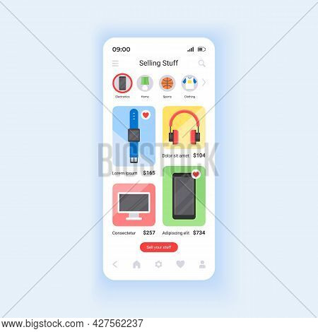 Selling Unwanted Stuff Online Smartphone Interface Vector Template. Choosing New Gadgets. Mobile App