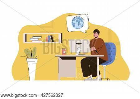 Foreign Education Concept. Student Studies At Computer At Foreign University Situation. Online Learn