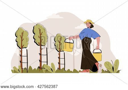 Gardening Concept. Woman Farmer Holding Buckets And Caring For Tree Seedlings Situation. Planting, F
