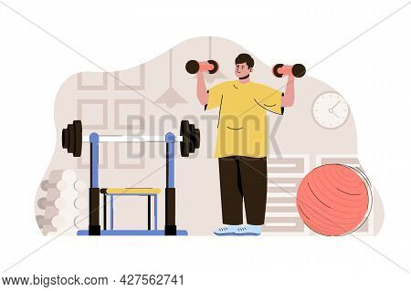 Keep Fit Concept. Man Exercising With Dumbbells, Doing Workouts In Gym Situation. Healthy Lifestyle,
