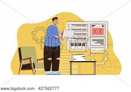 Machine Language Concept. Programmer Works On Laptop, Gives Instruction Set Situation. Software Deve