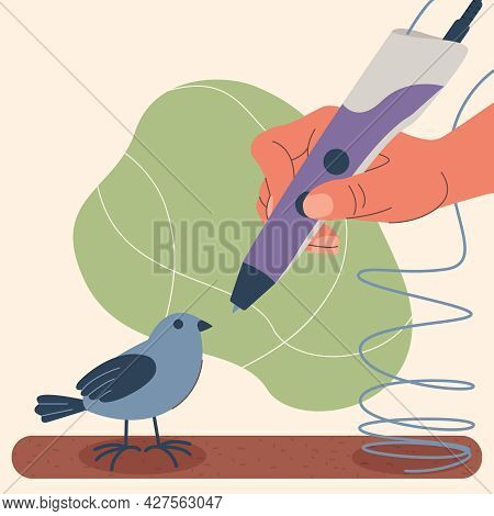 Creation Of A Model Using A 3d Pen. Illustration Of A Hand Holding A 3d Printing Pen, Create A Bird