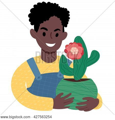 African Boy With A Cactus In Bloom. Flat Style Illustration