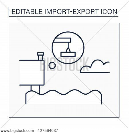 Quay Line Icon. Stone Or Metal Platform. Building For Loading And Unloading Ships.import And Export