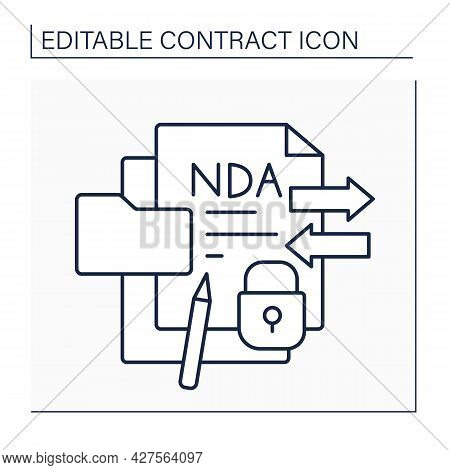 Confidentiality Agreement Line Icon. Legal Agreement Binds One Or More Parties To Non-disclosure Of