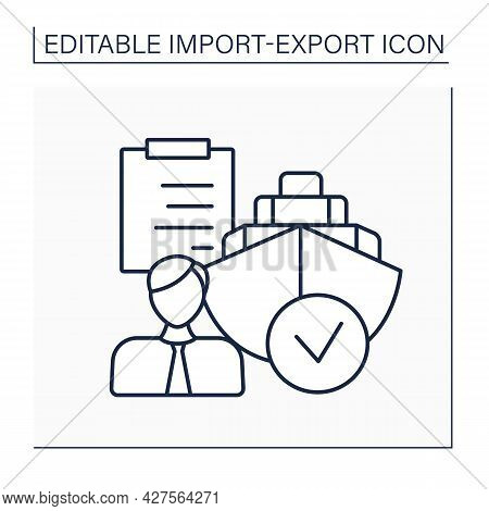 Shipping Agent Line Icon. Person Responsible For Handling Shipments And Cargo. Arrangements And Docu