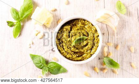 pesto sauce with basil,  pine nut and olive oil