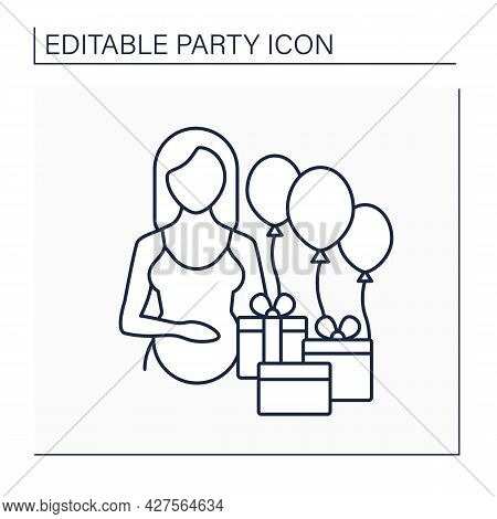 Baby Shower Line Icon. Traditional Gift-giving Party. Celebrations In Honor Of Pregnant Woman And He