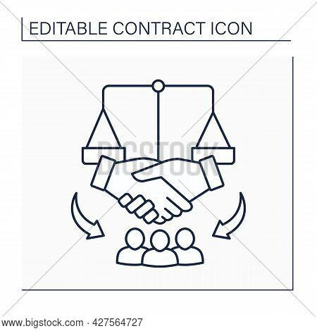 Collective Agreement Line Icon. Written Contract Between Employer And Union. Terms And Conditions Of