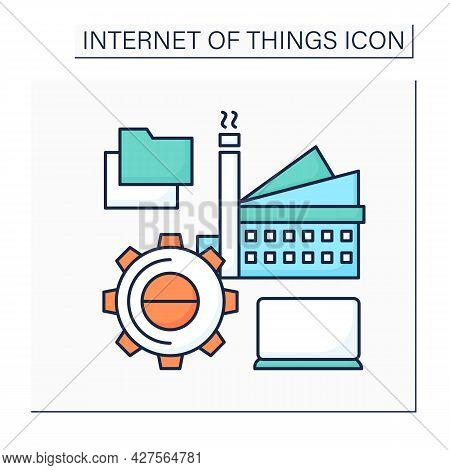 Infrastructure Management Color Icon. Digital Technologies In Modern Management.smart City. Digital