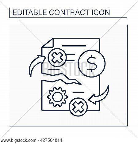 Contract Breach Line Icon. Civil Wrong. Violation Of Any Of Agreed-upon Terms And Conditions Of Bind