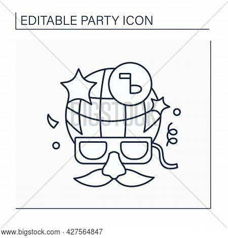 Costume Party Line Icon. Fancy Dress Party. Guests Dressed Up In Funny Costumes. Party Concept. Isol