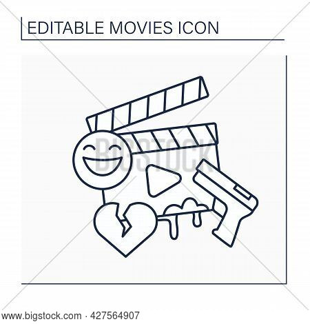Genre Line Icon. Categories Define Movie Based On Narrative Elements. Unique In Types Of Stories The