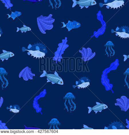 Marine Life Seamless Pattern. Blubber, Shell, X-ray Fish, Pufferfish