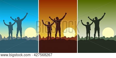 Happy Father And Son Set Of Greeting Cards. Dad And Son In Nature At Sunset. Silhouette Of Father An