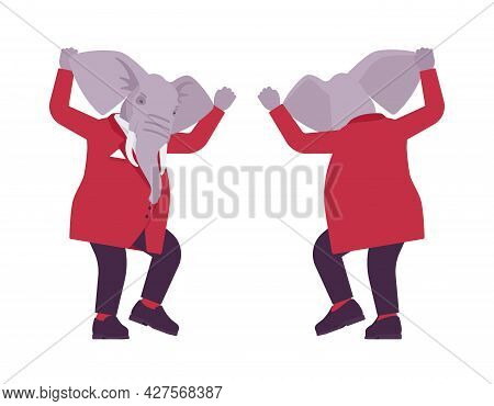Elephant Man, Elegant Mister, Animal Head Stylish Human Mad And Wild. Dressed Up Gentleman, Large Tr