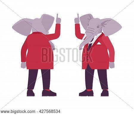 Elephant Man, Elegant Mister, Animal Head Stylish Human Attention Gesture. Dressed Up Gentleman Havi