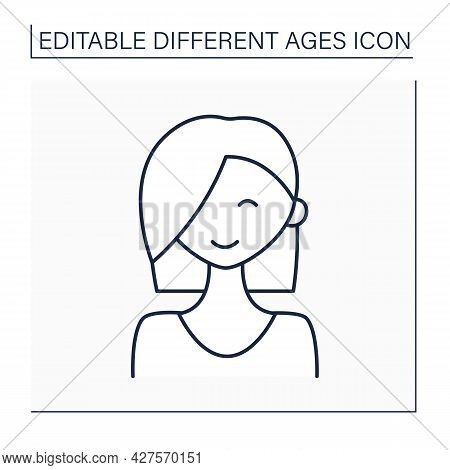Adolescence Period Line Icon. Young Happy Girl. Life Cycle. Different Ages Concept. Isolated Vector