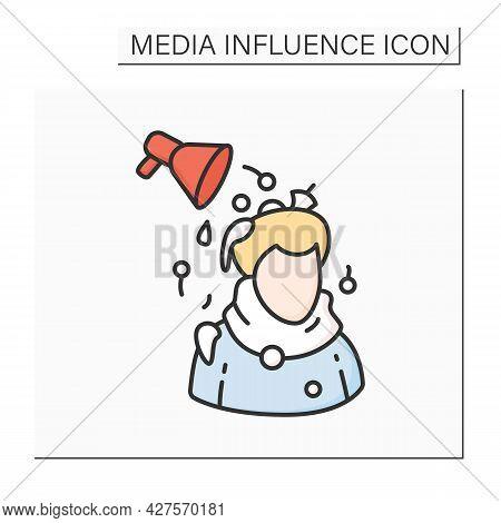 Media Pressure Color Icon. Megaphone And Person. Concept Of Political Propaganda, News And Tv Advert