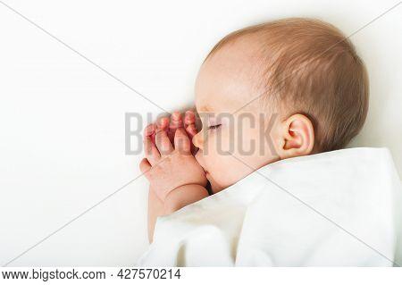 Baby Sleeps On Bed. Infant, Toddler Restful Sleep, Teething, Colic.
