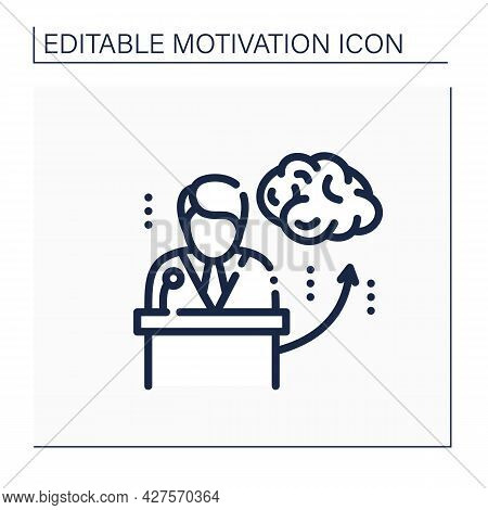 Motivational Speaker Line Icon. Inspired Speech From Competent Mentor. Convince Listeners To Take Ac