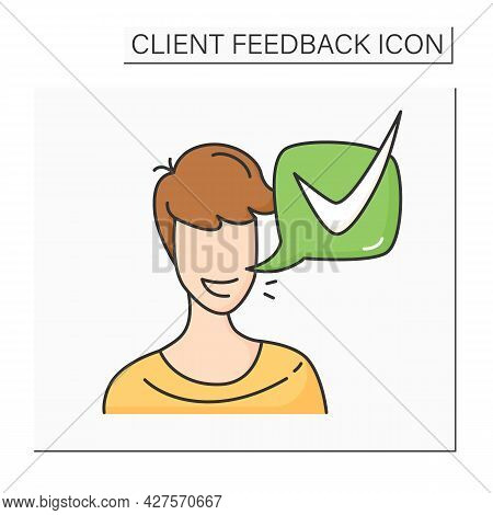 Customer Positive Feedback Color Icon. Client Head With Positive Answer Speech Bubble. Marketing And