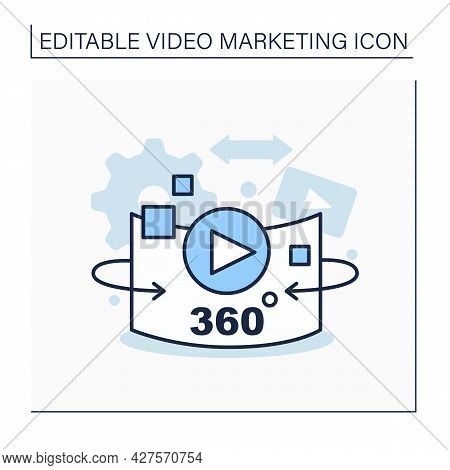 360-degree Video Line Icon.immersive Or Spherical Video Clip. Recordings View In Every Direction.vid