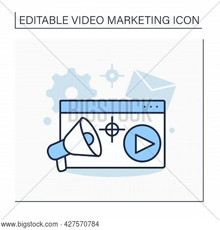 Goals Line Icon. Building Customer Rapport, To Promoting Brand, Services Or Products.video Marketing