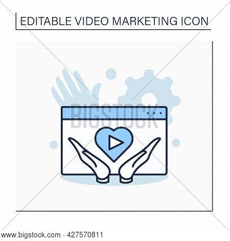 Social Content Videos Line Icon. Social Content Based On Audience Needs. Support, Love, Care. Video