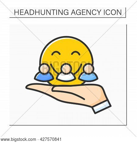 Friendly Recruiting Color Icon.recruiters Make Candidates Feel At Ease And Calm. Create Mood And Atm