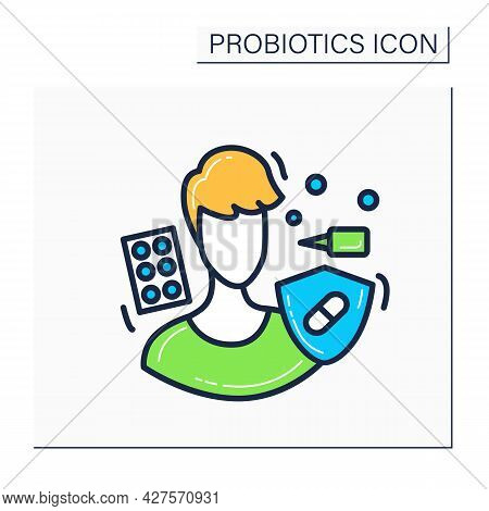 Allergic Activity Probiotics Color Icon. Allergy Reaction Medication And Medical Treatment Concept.