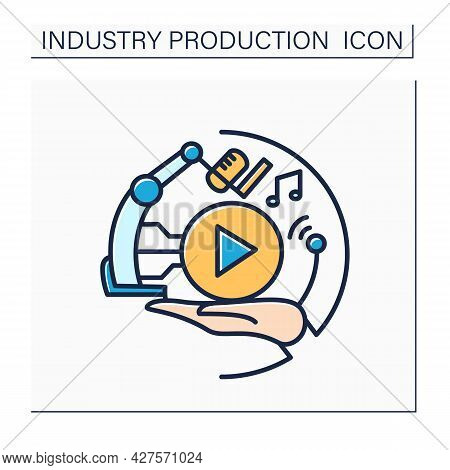 Music Industry Color Icon. Music And Song Creation. Entertainment Industry. Creative Process. Contem