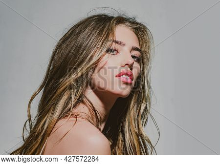 Fashion Model. Glamour Portrait Of Beautiful Woman Model With Fashion Make-up. Daily Make Up. High F