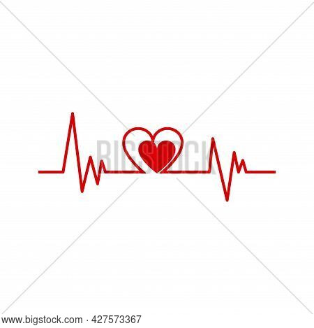 Isolated Electrocardiogram With A Heart Shape Icon Vector