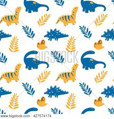 Vector Seamless Pattern With Dinosaurs And Leaves In Cartoon Flat Childish Style. Animal Kids Illust