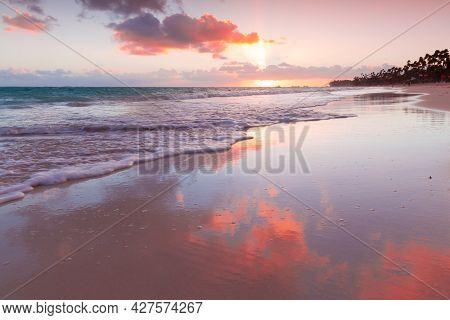 Coastal Landscape With Colorful Sunrise Sky Over Atlantic Ocean, Bavaro Beach, Punta Cana. Dominican