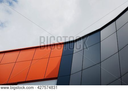 Details Of Aluminum Facade And Aluminum Panels On Industrial Building. Cladding Steel Frame Panels.