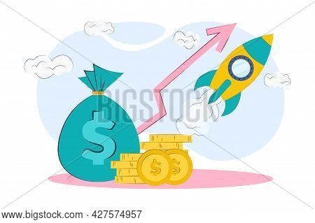 Money Profit Growth Up. The Concept Of Economic Growth Or Market Growth, Investment Income, Capital
