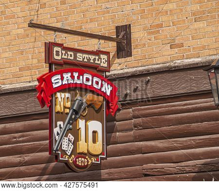 Deadwood Sd, Usa - May 31, 2008: Downtown Main Street. Closeup Of Colorful Old Style No 10 Saloon Em