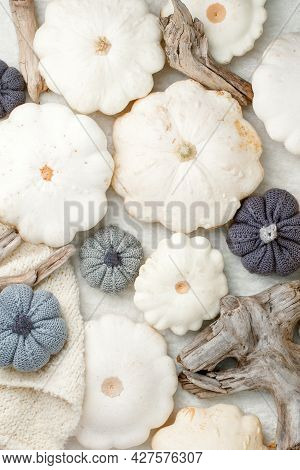 Autumn Fall Composition. Feminine Desk Table With Knitted Scarf And White Squash Pumpkin On White Ba