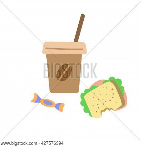 Coffee Paper Cup, A Bitten Sandwich And A Candy Cane Isolated On A White Background. Conceptual Illu