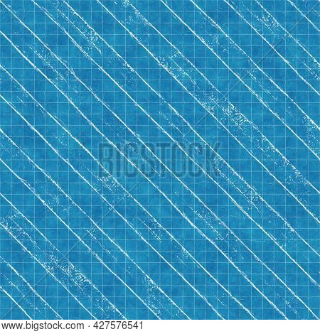 Seamless Bright Blue Blueprint Pattern For Textile And Print