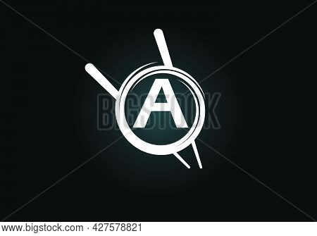 Initial A Monogram Alphabet In The Abstract Circle With Chopstick. Abstract Asian Sushi Bar Emblem.