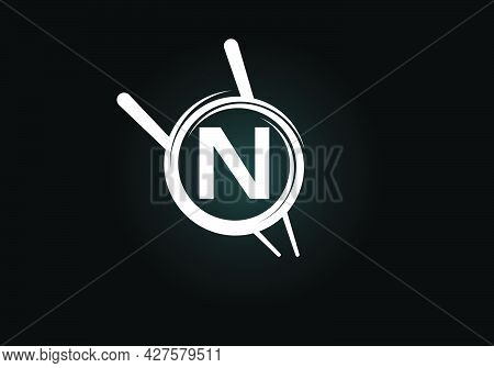 Initial N Monogram Alphabet In The Abstract Circle With Chopstick. Abstract Asian Sushi Bar Emblem.