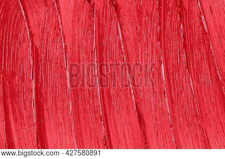Makeup Creamy Backdrop. Liquid Beauty Cream Close Up. Red Lipstick Smear Smudge Sample Texture Backg