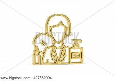 Golden 3d Beautician Icon Isolated On White Background - 3d Render