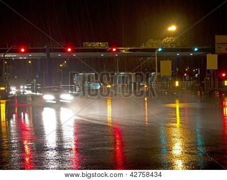 Highway At Night In The Rain