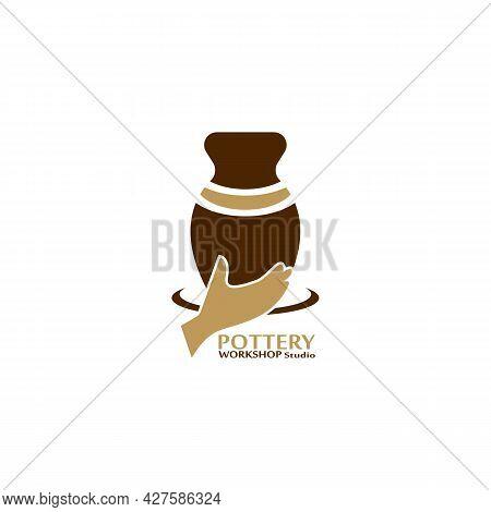 Pottery Workshop Studio Logo Vector Template