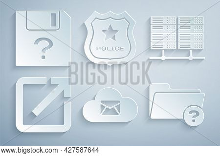 Set Cloud Mail Server, Server, Data, Web Hosting, Open New Window, Unknown Directory, Police Badge A